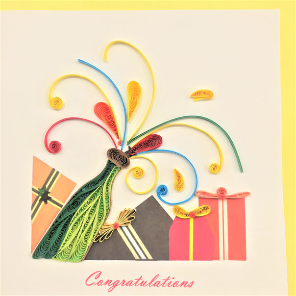 Quilled Champagne Congratulations Blank Card