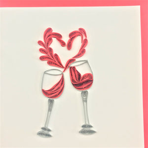 Quilled Wine Heart Cheers Blank Card