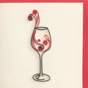 Quilled Abstract Wine Glass Blank Card