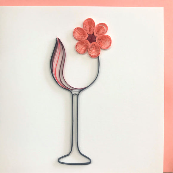 Quilled Wine Glass with Flower Blank Card