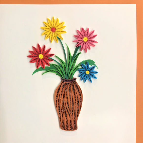 Quilled Multicolor Flowers in Vase Blank Card