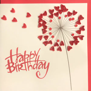 Quilled Happy Birthday Dandelion Blank Card