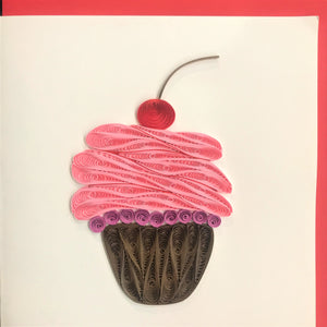 Quilled Pink Cupcake Blank Card