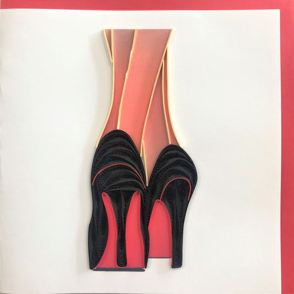 Quilled High Heels Blank Card