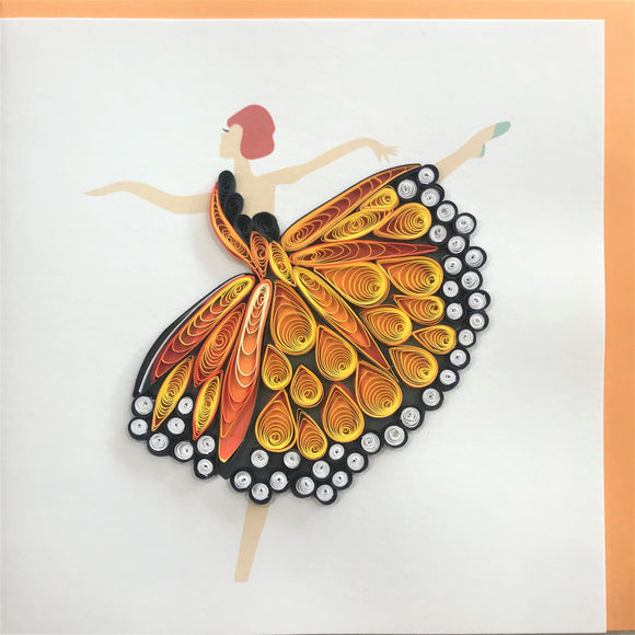 Quilled Butterfly Ballerina Blank Card