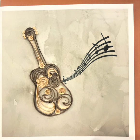 Quilled Acoustic Guitar Blank Card