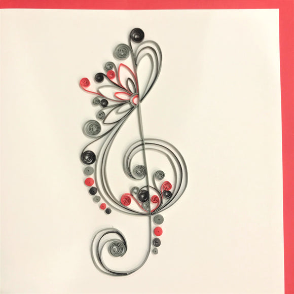 Quilled Abstract Treble Clef Blank Card