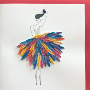 Quilled Abstract Ballerina Blank Card