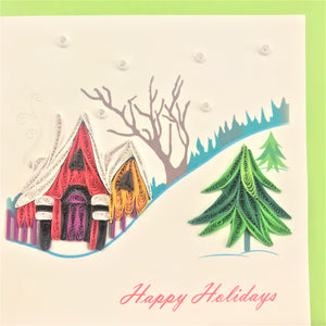 Quilled Snowy Landscape Blank Card