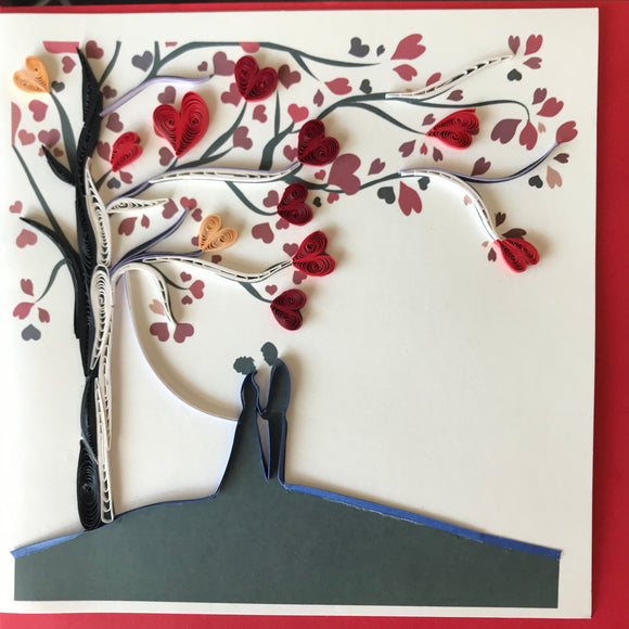 Quilled Couple Under Tree Blank Card