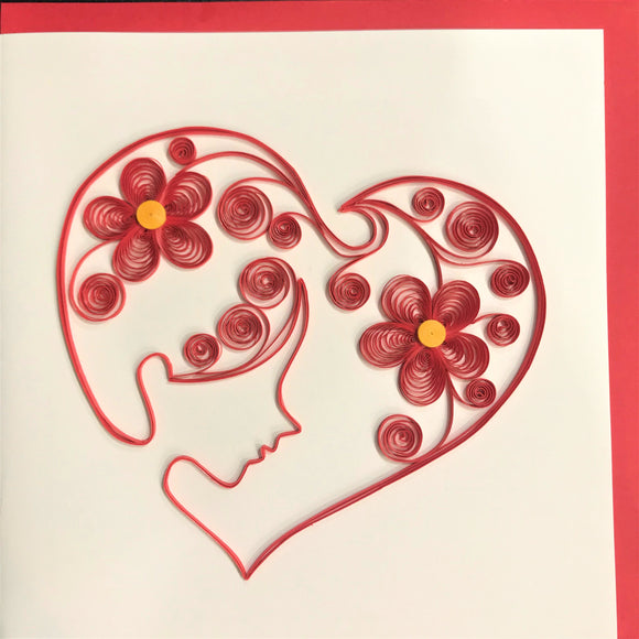 Quilled Silhouette Heart Blank Card