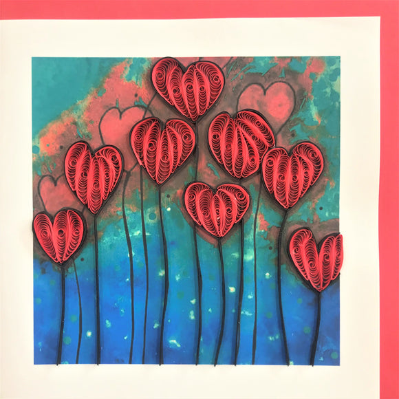 Quilled Abstract Heart Flowers Blank Card
