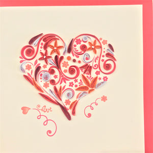 Quilled Floral Heart Blank Card