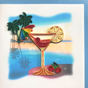 Quilled Beach Martini Blank Card