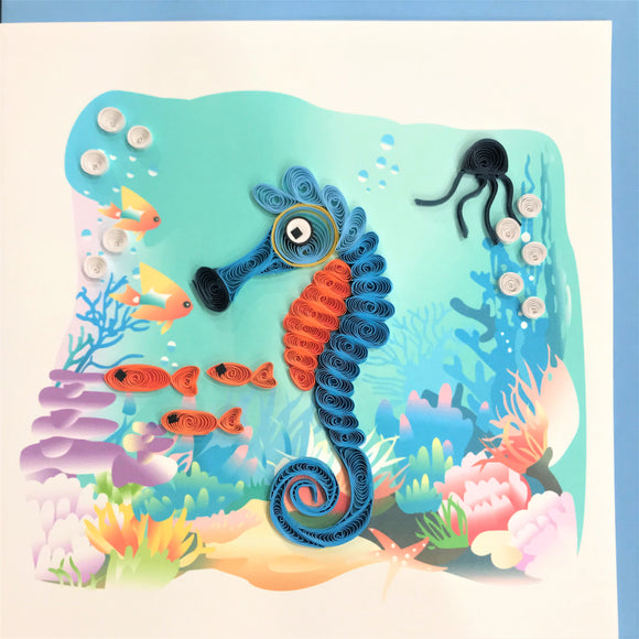 Quilled Seahorse Underwater Blank Card