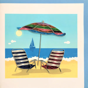 Quilled Beach Chairs under Umbrella Blank Card