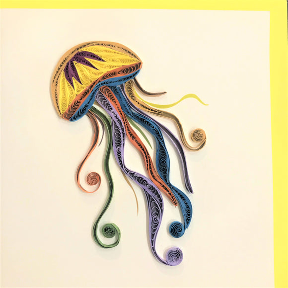 Quilled Colorful Jellyfish Blank Card
