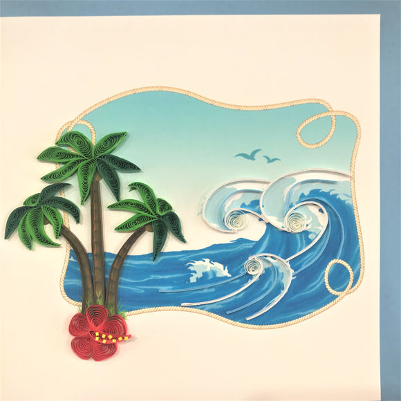 Quilled Palm Tree & Waves Blank Card