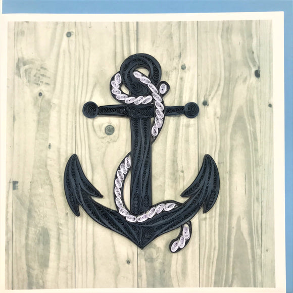 Quilled Anchor on Wood Blank Card