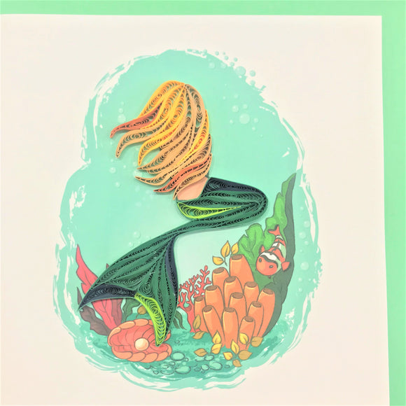 Quilled Mermaid Facing Away Blank Card