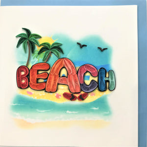 Quilled Beach Typography Blank Card