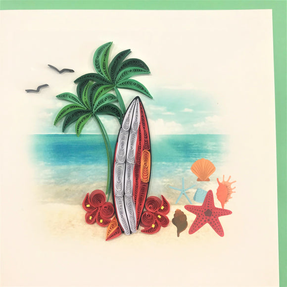 Quilled Surfboard on Beach Blank Card