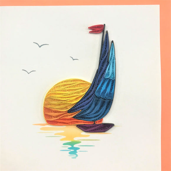 Quilled Sailboat Sunset Blank Card