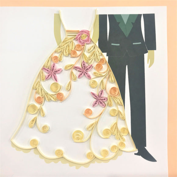 Quilled Bride & Groom Blank Card