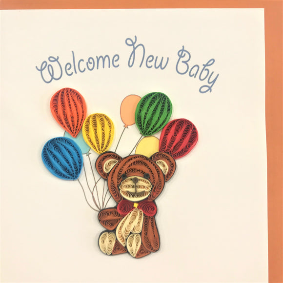 Quilled New Baby Teddy Blank Card