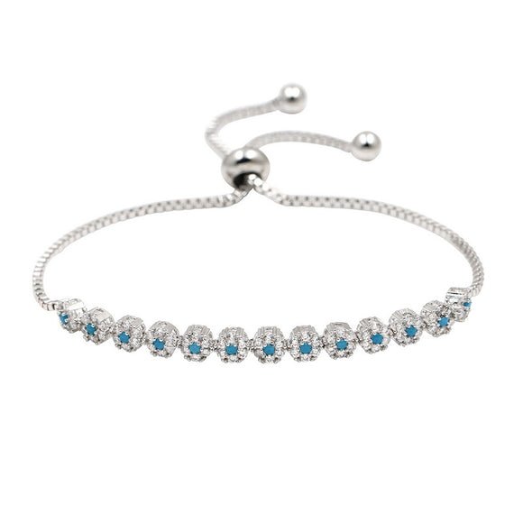 Silver with Blue Stones EZ-On & EZ-Off Bracelet - 247