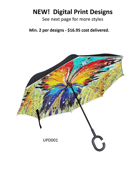 Upside Down Digital Print Inverted Umbrella