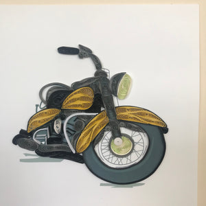 Quilled Gold Motorcycle Blank Card
