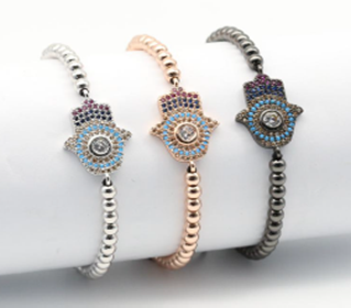 Beaded Hamsa EZ-On & EZ-Off Bracelet - J454