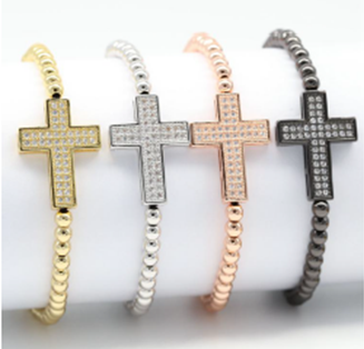 Beaded Bold Crosses EZ-On & EZ-Off Bracelet - J510