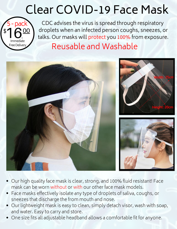 Clear Face Mask - 5 Pack