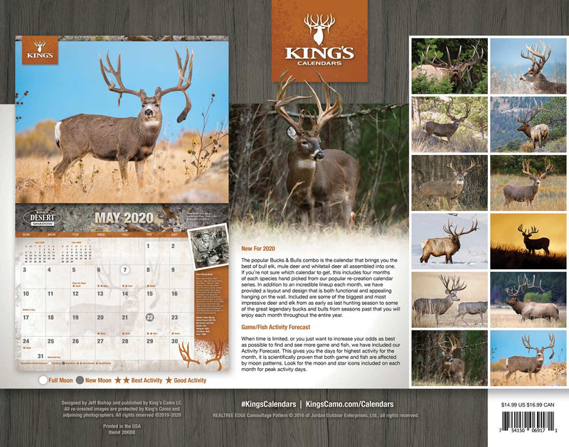2020 King's Bucks & Bulls Calendar TWIN PACK