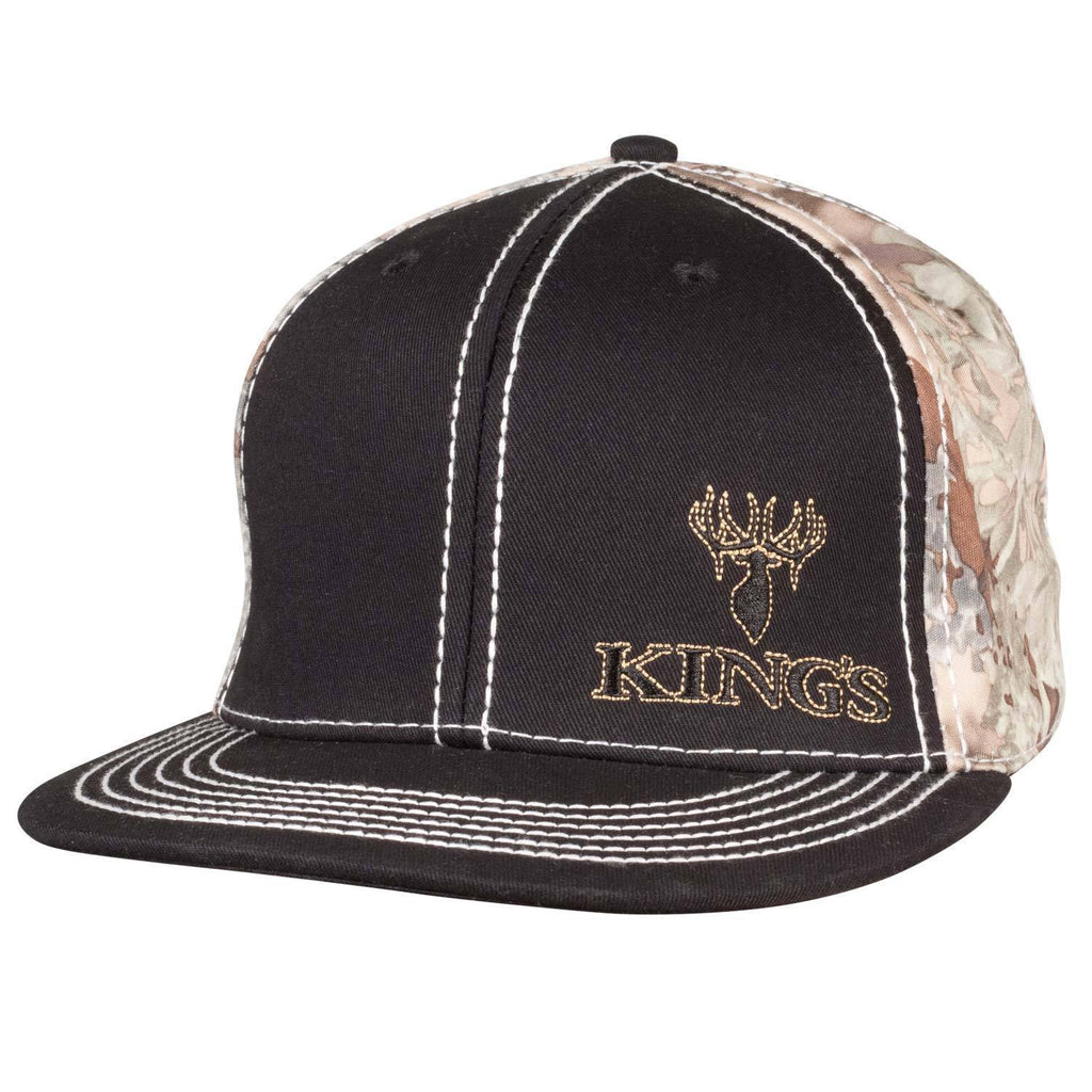 Flat Bill Snapback Hat Black | King's Camo