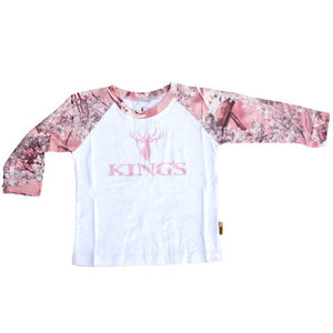 Infant Toddler Long Sleeve Tee Pink Camo Trim 3/6 Months | King's Camo