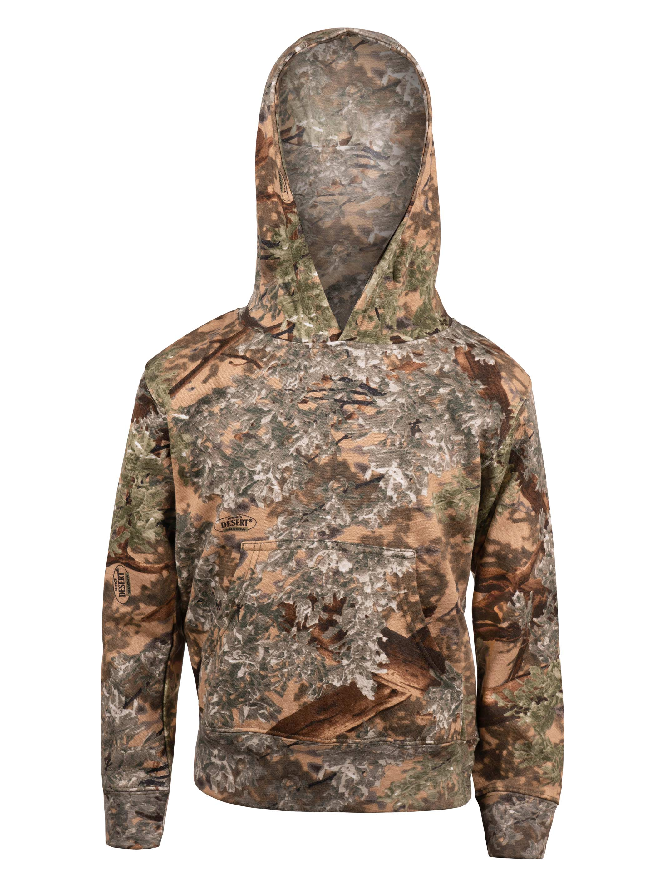 Kings Camo Kids Cotton Hoodie Desert Shadow w// Elk Black and Pink Logo Camouflage Youth