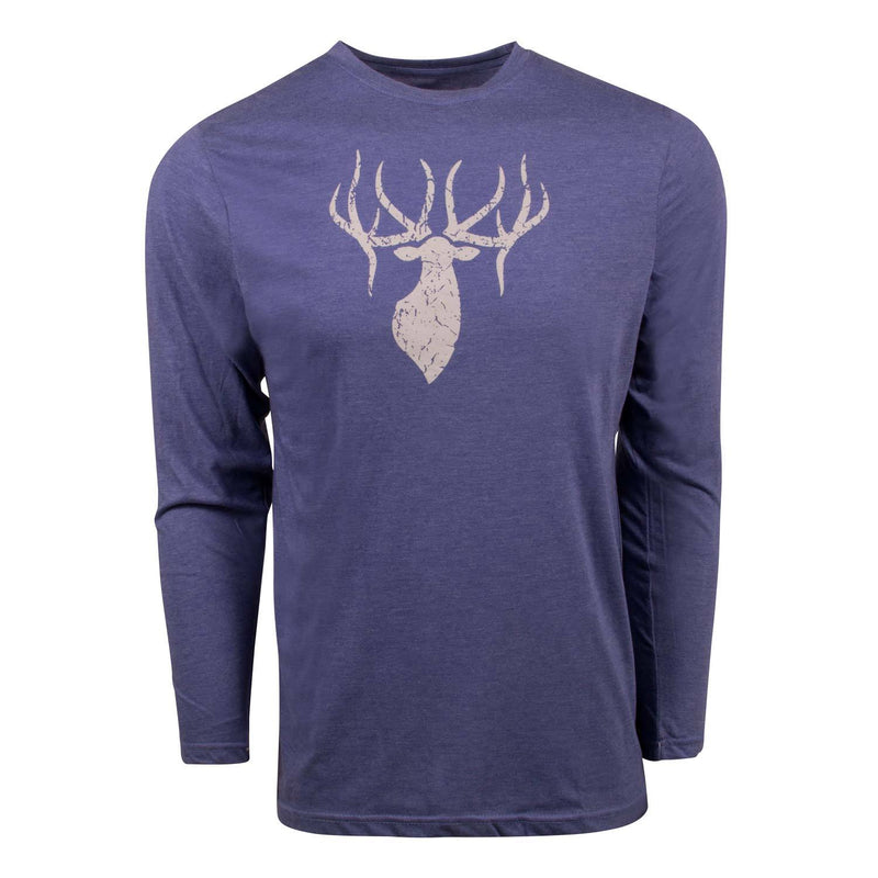 King's Triblend Long Sleeve Crew in Heathered Blue | King's Camo