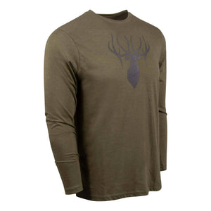 King's Triblend Long Sleeve Crew in Heathered Olive | King's Camo
