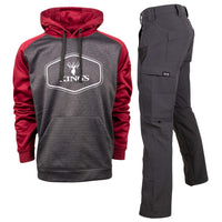 Red Performance Hoodie and Charcoal XKG Ridge Pant | King's Camo