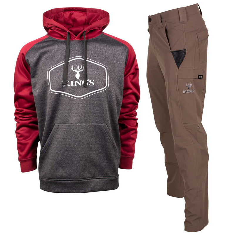 Red Performance Hoodie and Dark Khaki XKG Ridge Pant | King's Camo