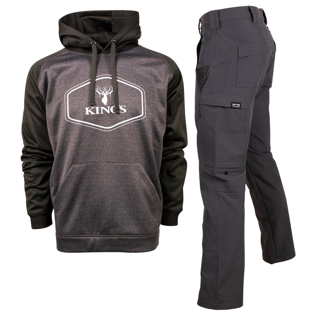 Black Performance Hoodie and Charcoal XKG Ridge Pant | King's Camo