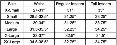 Women's XKG Ridge Pant Sizing
