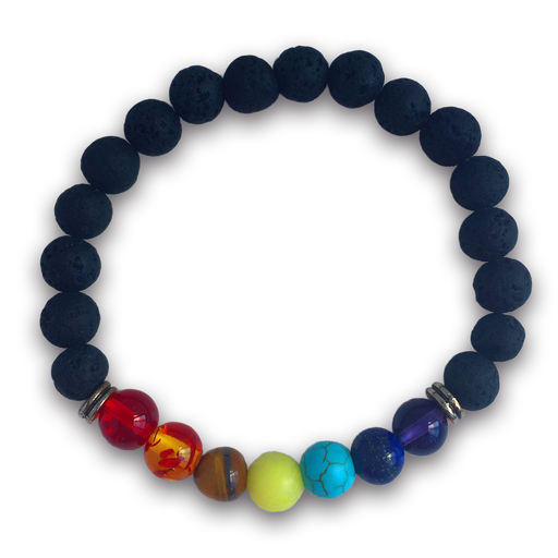 7 Chakras Real Lava Stone Bracelet for Women and Men
