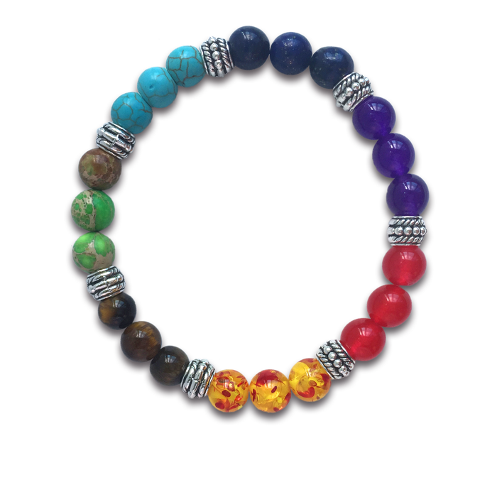 7 Colour Chakra Stone Bracelet for Women and Men
