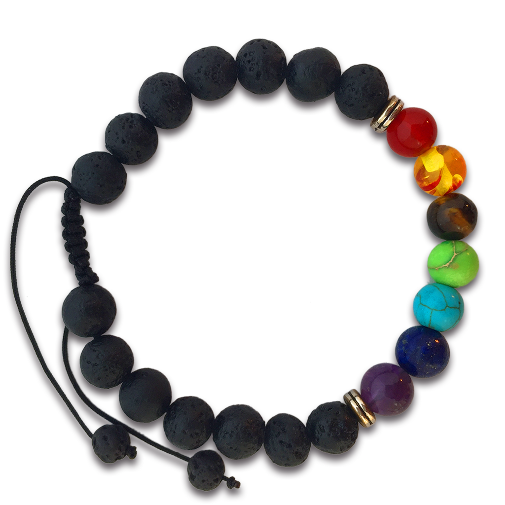 7 Chakras Real Lava Stone Braided Bracelet for Women and Men - Helps Balance Your Chakras - Healing, Yoga, Meditation