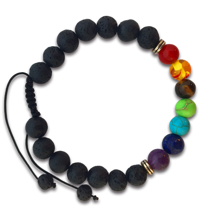 7 Chakras Real Lava Stone Braided Bracelet for Women and Men