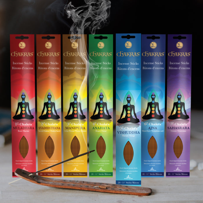 Chakras Incense - 7x 20x 1-hour Stick Set